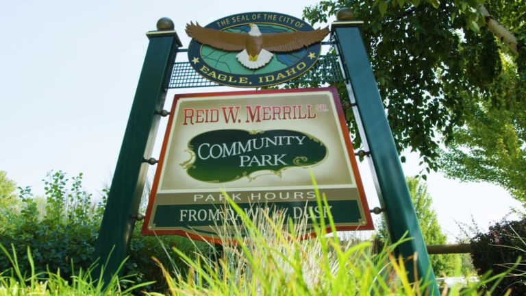 Community Street Sign at Merrill Park