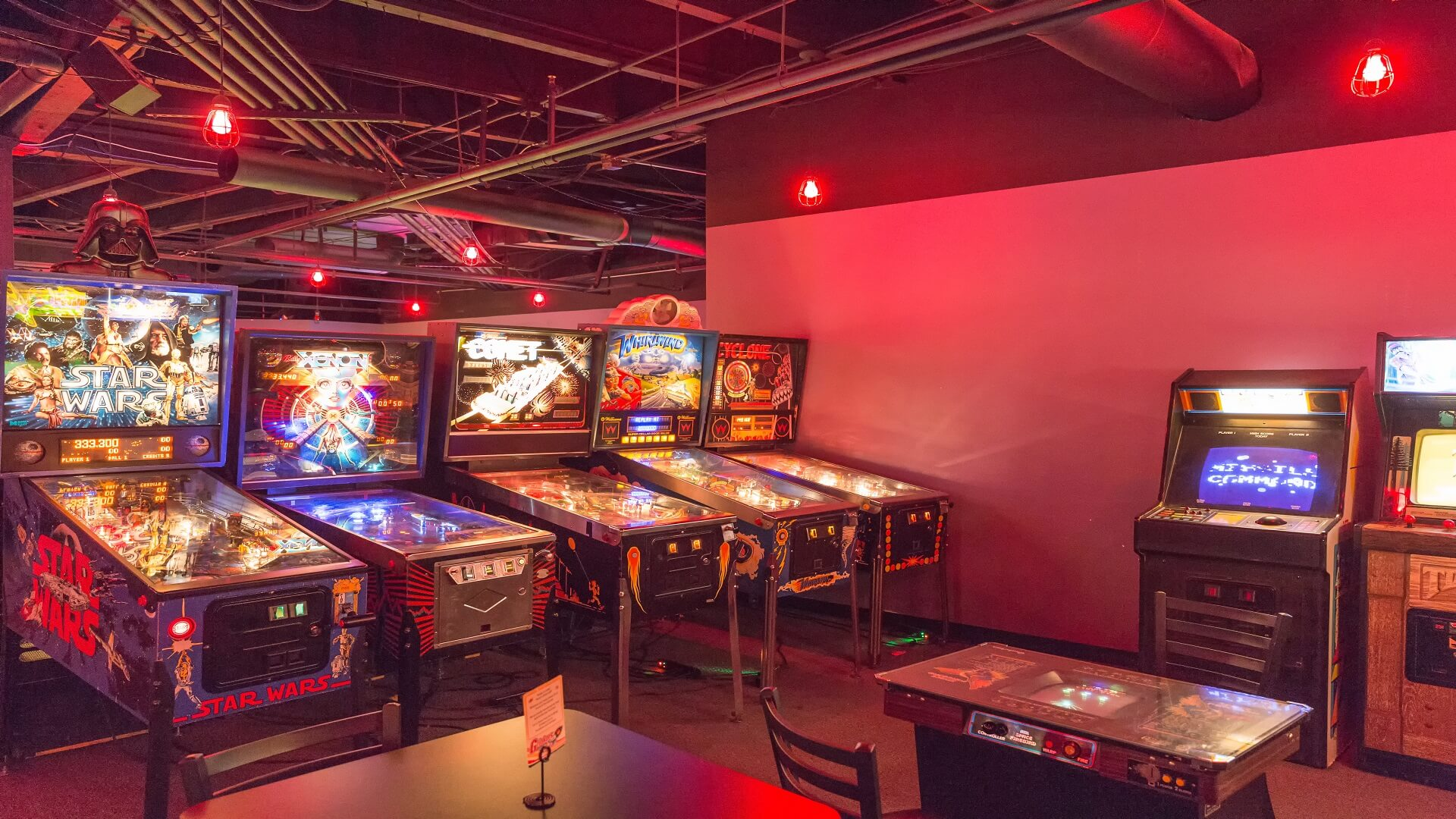 Pinball machines and Video Games in 1980s Arcade Grinkers in downtown